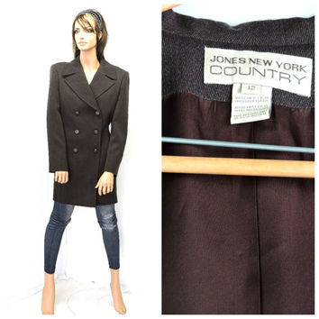 Vintage womens wool pea coat M 80s / 90s tailored long brown double breasted peacoat size 10 / 12 Jones New York wool blazer coat SunnyBoho