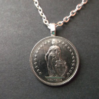 SWITZERLAND coin necklace charm pendant . 2 fr franc . confoedratio Helvetica swiss sterling silver .coin jewelry No.001048