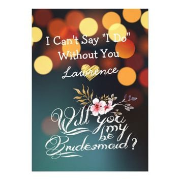 Will You Be My Bridesmaid Gold Bokeh Lights Floral Card