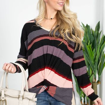 Pink Striped Knot Top