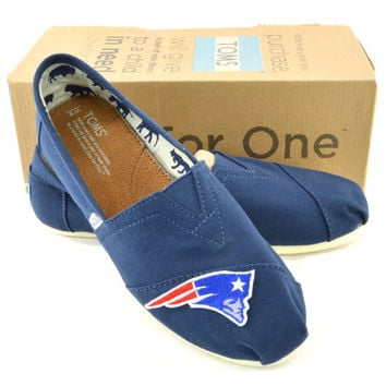Custom Navy New England Patriots Sports Team Gameday Tailgate TOMS Shoes
