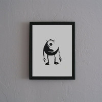 Mike Wazowski Monsters Inc Hand cut black by CuttingPixels on Etsy
