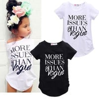 2016 New Kids Baby Girls Summer Fashion Cotton Short sleeve T-shirt Tops Clothes