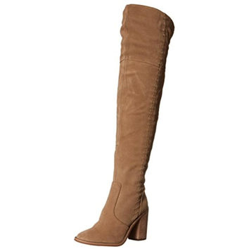 Vince Camuto Womens Morra Suede Stacked Heel Thigh-High Boots