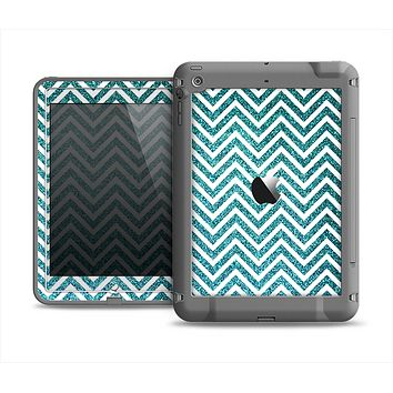 The Teal & White  Sharp Glitter Print Chevron Apple iPad Air LifeProof Fre Case Skin Set