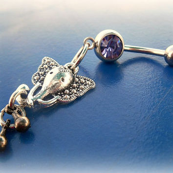 Purple India Elephant Belly Ring, Tribal Belly Ring, Lucky Belly Ring,  Beach Wear, Body, Bohemian, Belly Dancer, Ready to Ship