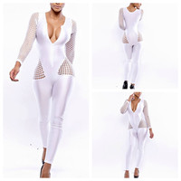 White V-Neck Net Mesh Long Sleeve Jumpsuit