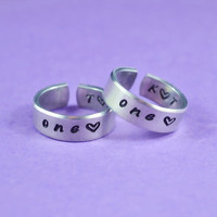 one love Couples Ring Set, Hand Stamped Aluminum Band Rings, Handwritten Font, Forever Love, Friendship