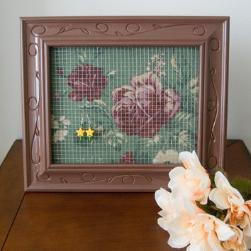 Beautiful Brown and Green with Red Flowers Earring Holder Frame