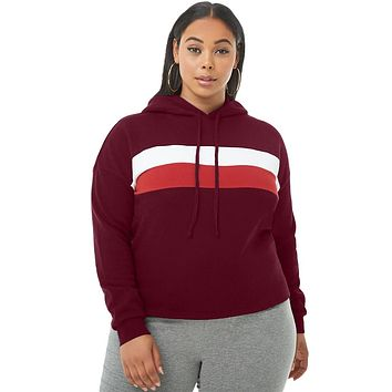 Burgundy Striped Detail Plus Size Chunky Hoodie