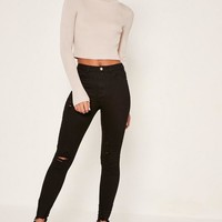 Missguided - Black Sinner Highwaisted Destroyed Hem Skinny Jeans