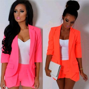 Autunm Blazers Casual Slim Solid Suit Blazer Jacket Coat Outwear Women Fashion Candy Color Blazer