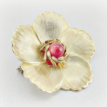 Vintage Gold Flower Brooch Pin, Red Bead Brooch, Moonglow Lucite Brooch, Spring Summer Floral Pin, 1950s 1960s Mad Men Costume Jewelry
