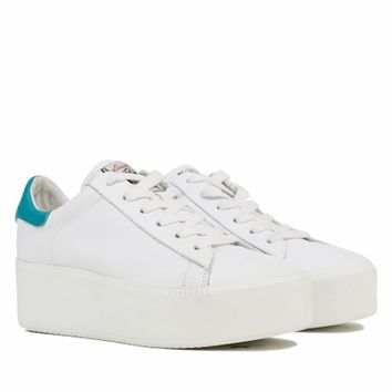 Ash Cult Womens Lace Up Sneaker White and Chloro Leather 350011 (120)