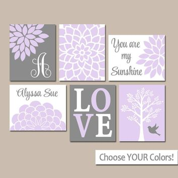 Lilac GRAY Nursery, Baby Girl Nursery Wall Art, Gallery Wall Nursery, Girl Bedroom Pictures, Girl Decor, CANVAS or Prints, Set of 6 Pictures