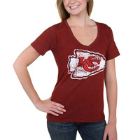 Kansas City Chiefs New Era Women's Missy Big Logo Tri-Blend V-Neck T-Shirt - Red