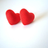 Stud Earrings RED HEART Fabric Covered Button Ear Posts