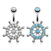 Ship Wheel, Boat Wheel CZ Paved Belly Ring
