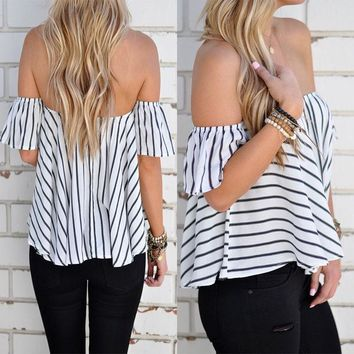 Fashion Striped Chiffon Shirt