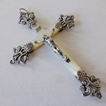 Antique French Mother Of Pearl And Silver Crucifix, SHIPPING INCLUDED