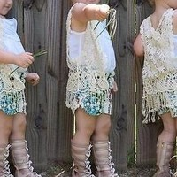 Precious Baby Toddler Girls Summer/Spring Crochet Lace Vest BOHO Babe One Size Cream or White