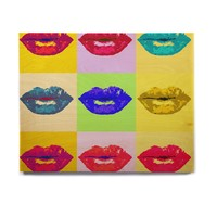 "Oriana Cordero ""Pop Kiss"" Rainbow Lips Birchwood Wall Art"