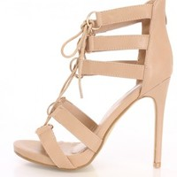 Taupe Strappy Lace Up Heels Faux Leather