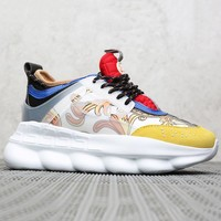 Versace New fashion multicolor print couple sports leisure shoes 1#