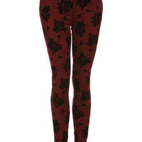 Red Rose Print Ultra Soft Jeans