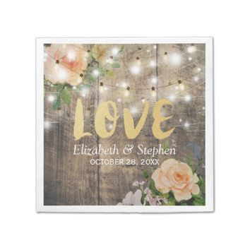 Rustic Wood Floral String Lights Wedding Shower Napkin