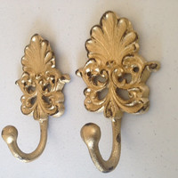 Shabby chic gold hooks, coat hook, towel hook set of two