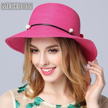 Women Summer Solid Hat Floral Casual Female Straw Hat Beach Hats Sun Hat Panama Fisherman Bucket Caps size 56-58cm 565c