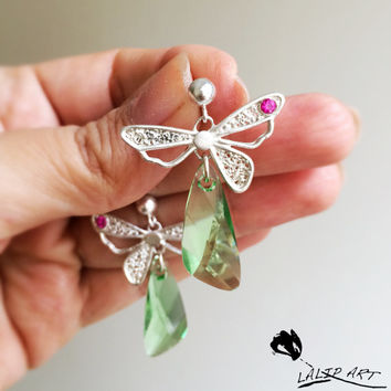 butterfly earring with crystal wing,silver butterfly,silver earring,handmade earring, Swarovski crystal wing,art clay silver earring