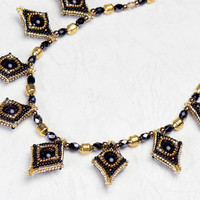 Beaded Rhombic Necklace, Black and Gold, blue gold stone, 0802-9ne-blkgld