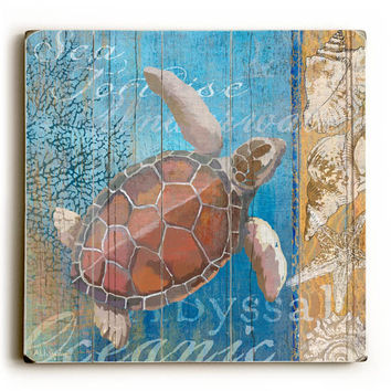 Turtle and Sea Wood Sign