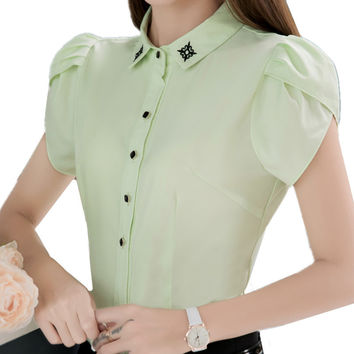 New summer fashion women Turn-down Collar Shirt high quality formal blouse shirts for female blusas plus size women clothing