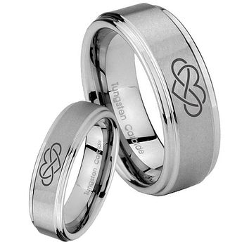 His and Hers Step Edge Infinity Love Tungsten Silver Wedding Rings Set
