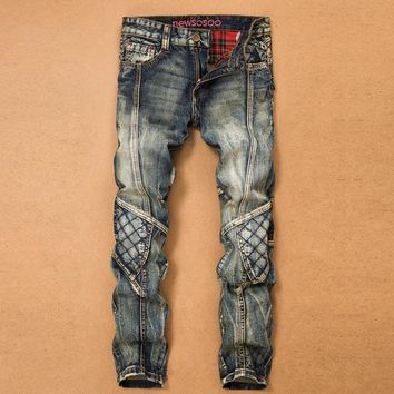 Patchwork Ripped Holes Vintage Denim Jeans [277905571869]