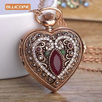 Blucome Love Heart Red Pocket Watches For Women Sweater Vintage Turkish Pendant Necklace Bronze Quartz Pocket Watch Necklaces