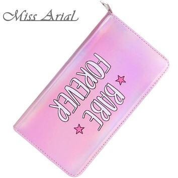 MISS ARIAL BABE FOREVER PINK ZIPPER YOUNG BEAUTY WALLET WOMEN MIRROR BLUSH SHINING BABY GIRL CLUTCH PURSE WOMAN CUTE MONEY CLIP