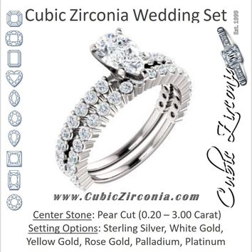 CZ Wedding Set, featuring The Thea engagement ring (Customizable 8-prong Pear Cut Design with Thin, Stackable Pavé Band)