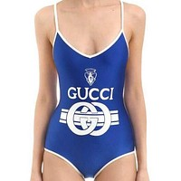 Gucci New Fashion Women Pure Blue White Edge Line Letter Print Vest Style Backless One Piece Bikini Swimsuit Swimwear Bodysuit I12141-1