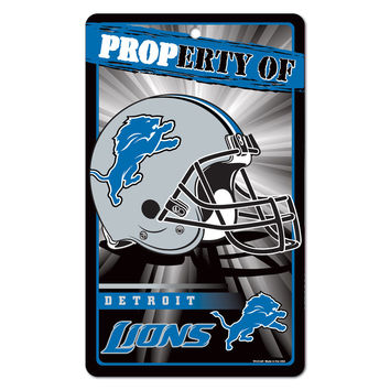 Detroit Lions NFL Property Of Plastic Sign (7.25in x 12in)
