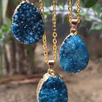 Blue Druzy Gemstone Necklace #I1024