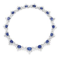 Platinum, Sapphire and Diamond Necklace | Lot | Sotheby's