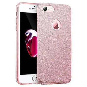 iPhone 7 Case, Eraglow iPhone 7 Back Cover Shinning Protective Bumper sparkle Bling Glitter Case for 4.7 inches iPhone 7 (rose gold)