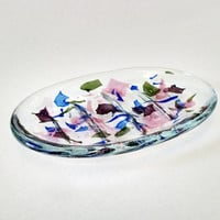 Fused Glass Soap Dish - Ridged Soap Dish - Bathroom Decor - Confetti Glass - Kitchen Decor - Pink - Blue - Purple - Green - Clear