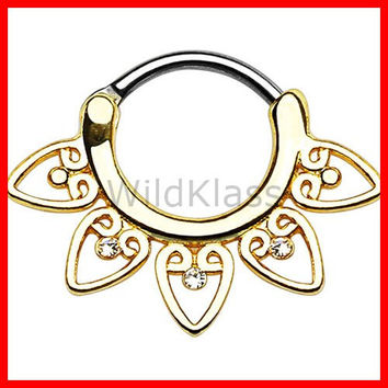 Tribal Fan with Clear Gems 316L Surgical Steel Septum Clickerv 16g Earring 14g Cartilage Piercing Tragus Ring Helix Conch Nose Septum Ring