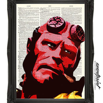Mike Mignola's Hellboy Original Pop Art Print on an Unframed Antique Upcycled Bookpage