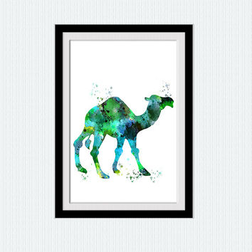 Camel art poster Camel watercolor print Animal blue art decor Safari animal print Home decoration Kids room wall art Nursery room decor W585